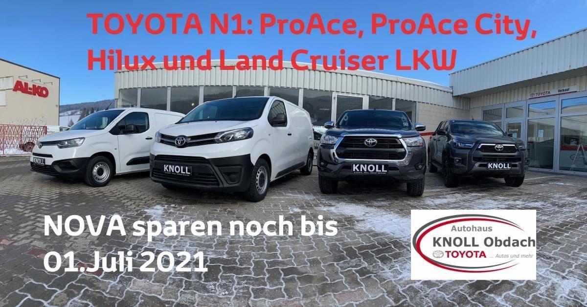 Jetzt NOVA-SPAREN bis 30.06.2021 - beim Toyota Proace, Proace City, Hilux und Landcruiser LKW. Wir beraten Sie gerne!